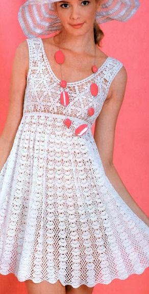 Летнее ажурное платье. Схемы