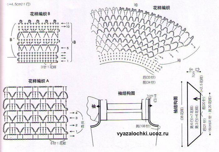 Вязание крючком рукава-крылышка схемы