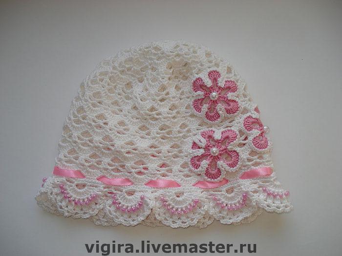 Шляпка для девочки с бисером.