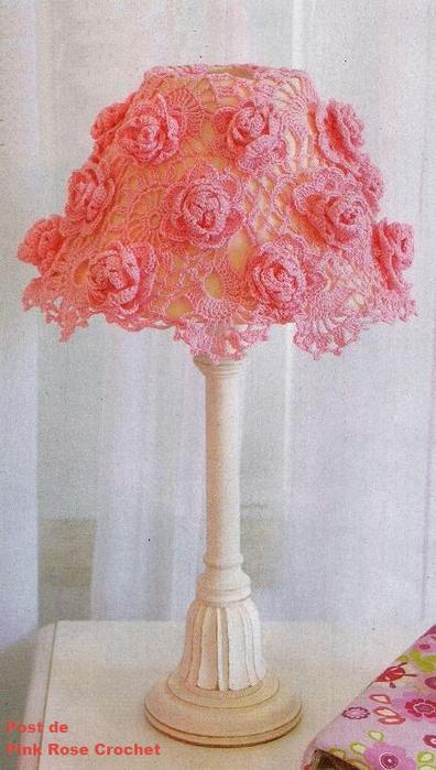 Cupula para Abajur Rosas em Crochet (396x700, 460Kb)