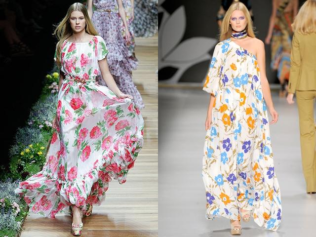 Цветочные длинные летние платья