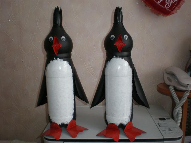 Пингвины из бутылки пластиковой своими руками