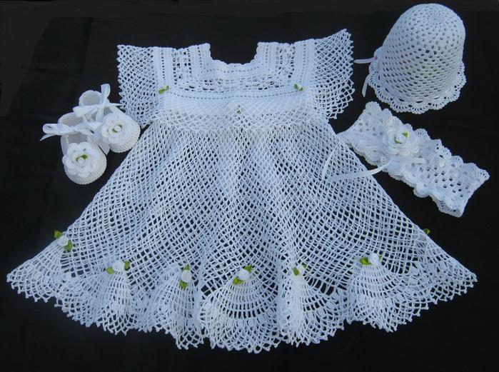 Вязание крючком крестильного платья для девочек 711