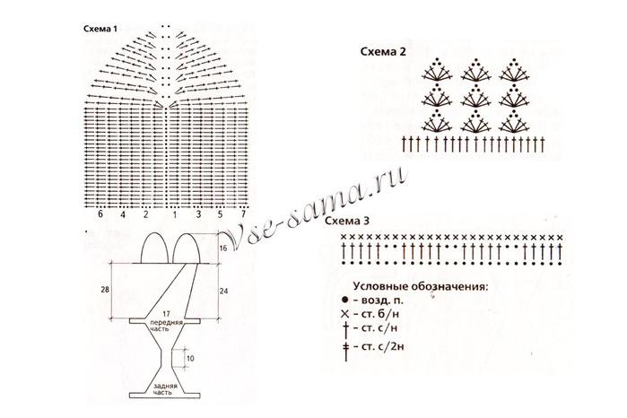 Схема вязания оранжевого купальника-трикини и пляжной юбки.