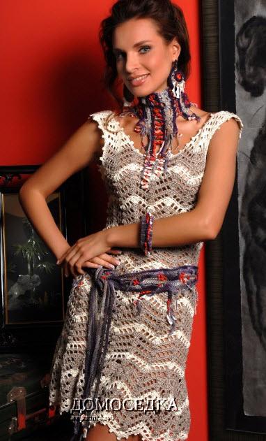 Летнее ажурное платье крючком