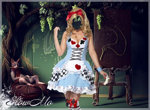 Женский шаблон для фотошопа - Алиса в стране чудес, Девушка в необычном платье на фоне виноградного дерева и полуразвалившегося на подушке чеширского кота/1336573711_Alice_in_Wonderland (500x369, 84Kb)