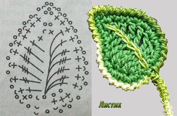Как вязать листочек розы