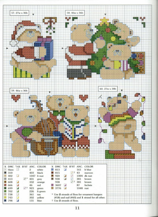Схема вышивки новогодних картинок