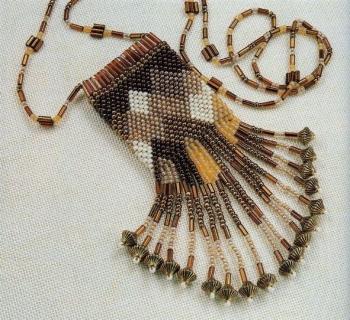 Красивая сумочка-амулет, сплетенная из бисера и стекляруса.  Понятные схемы и описание работы.