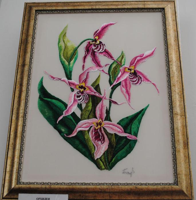 Орхидеи, художественная гладь