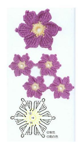 вязаные цветочки крючком схемы. вязаные цветы крючком со схемами...