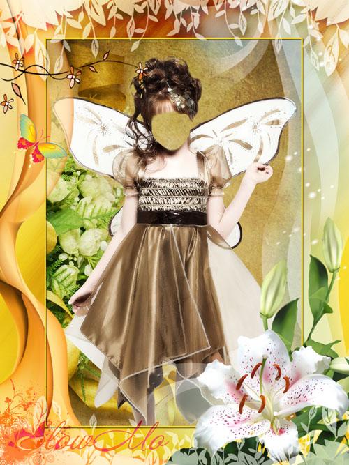 Многослойный детский костюм для фотошопа в формате PSD - Девочка в необычном костюме волшебной феи с крылышками за спиной стоит офрмлена красивой цветочной рамкой/1336974408_PSDCostume_Fairy_girl (500x667, 142Kb)