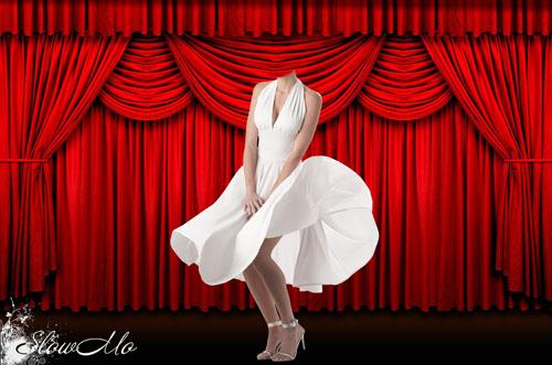 SlowMo, Photoshop, Templates, Costumes, PSD, Исходники, Шаблоны, Костюмы, Наряды, Фотомонтаж, Фотошаблоны, Мерлин Монро, Marilyn Monroe, Юбка, Пинап, Pinup, Кулисы, Белое платье, Skirt/1337012734_PSDCostume_MerlinMonro (500x331, 74Kb)