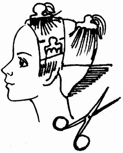 Схема выполнения стрижки шапочка.