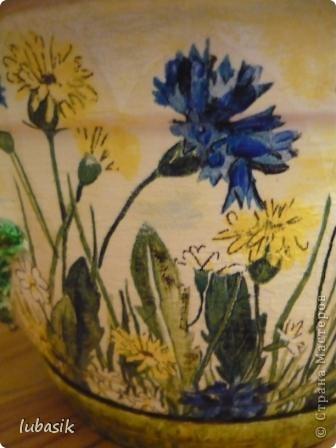 """Кашпо  """" Маки и полевые цветы """" + маленький МК Декупаж Папье-маше."""