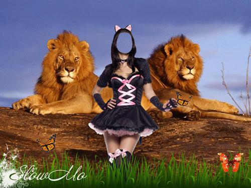 SlowMo, Photoshop, Templates, Costumes, PSD, Исходники, Шаблоны, Костюмы, Наряды, Фотомонтаж, Фотошаблоны, Девушка, Кошка, Женщина кошка, Львы, Лев, Бабочки, Girl, Leon, Woman, Baterfly, Cat/1337192054_PSD_Cat_Woman (500x375, 83Kb)