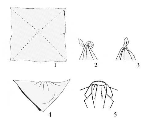 Завязать платок с пуговицей