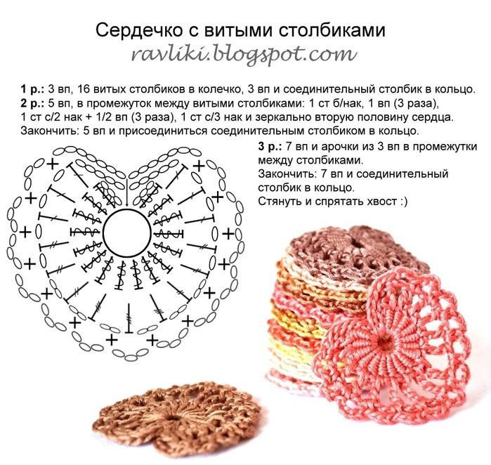 Вязание валентинок крючком схемы 81
