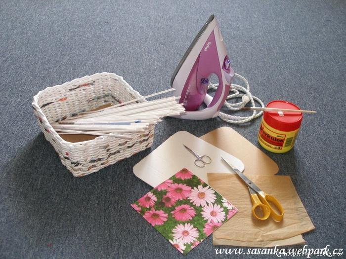 Декупаж на изделиях из газетных трубочек мастер