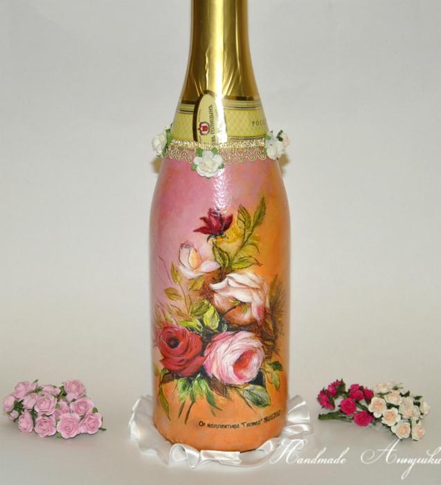 Декупаж бутылки к дню рождения мастер класс