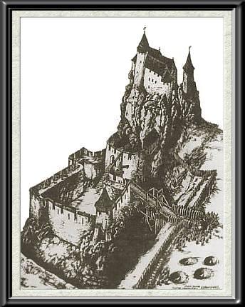 Rekonstrukcja wyglądu zamku gotyckiego z końca XIV w. wg Zygmunta Lisa (344x430, 34Kb)