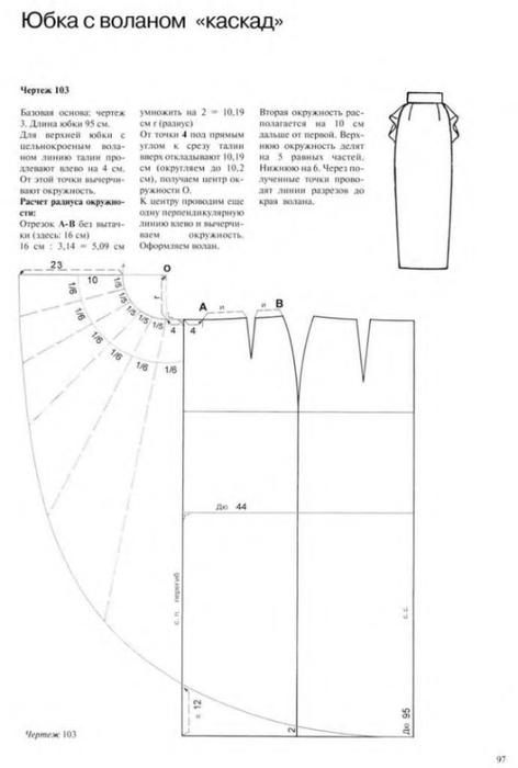 Юбка из квадрата ткани выкройка