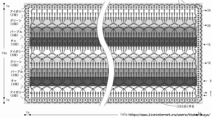 Схема двухстороннего узора спицами для шарфа схемы