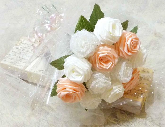 Букеты на свадьбу из лент