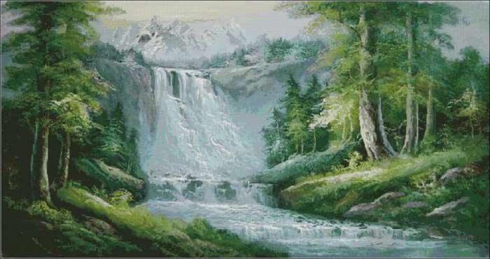 Схема для вышивки крестом Водопад.