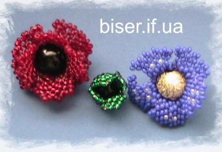 Вот такие цветочки у нас получаются из одной основы,но немного по разному сплетенные.  Итак,василек.