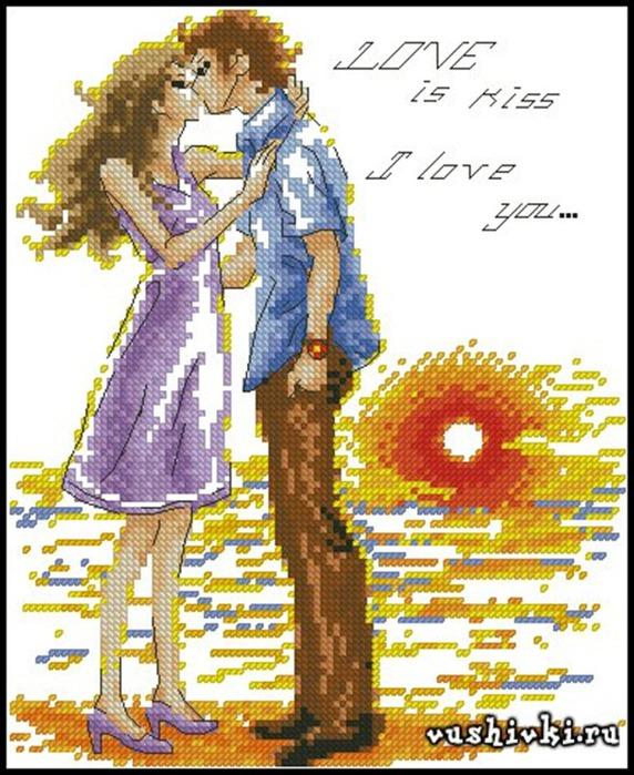 Аниме.  Описание: Схема для вышивки крестом - Влюбленная Пара в формате xsd.