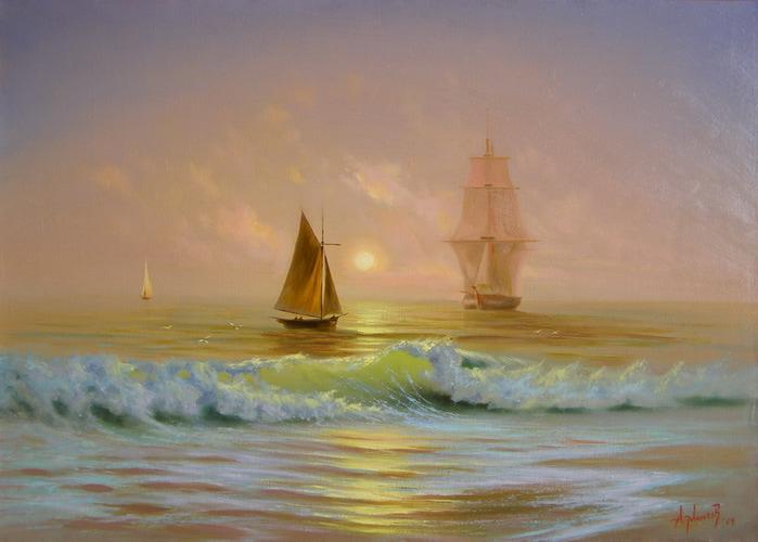 Рассвет на море, Александр Милюков(700x500, 82Kb)