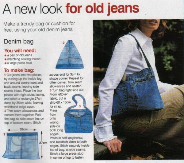 Сумки с выкройками из джинса