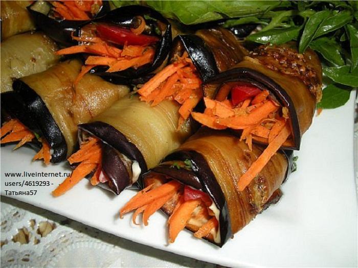 Баклажанные рулеты с корейской морковкой. (700x525, 141Kb)