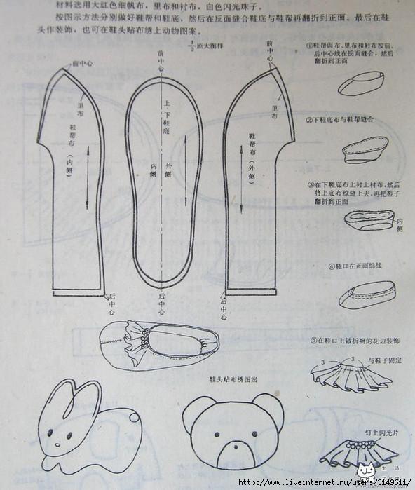 Тапочки своими руками Выкройки и пошив трех видов 18