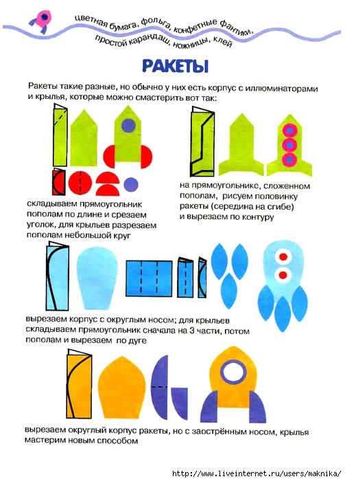 Ракета из бумаги для детей шаблоны