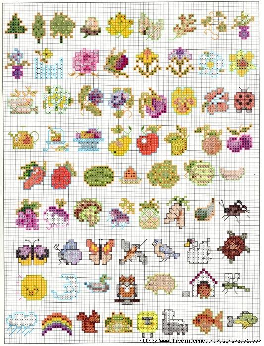 Вышивка крестом картинки маленькие цветы 7