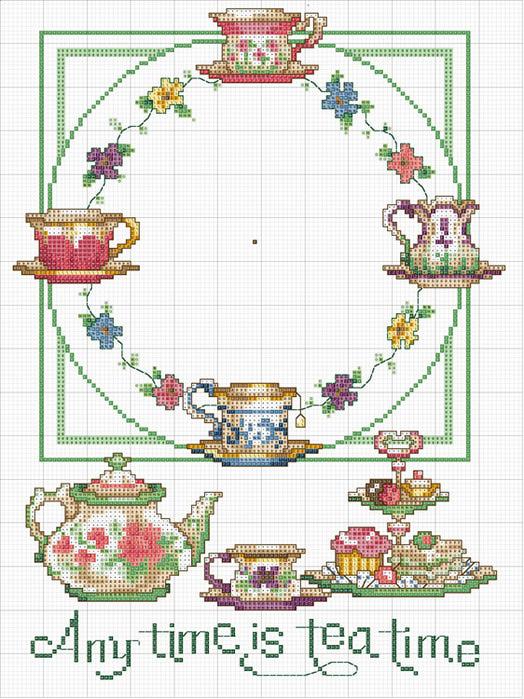 """Часы """"Время для чая"""" - вышивка"""