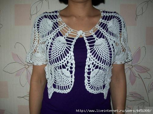 Страна мам вязание крючком для женщин летние болеро 8