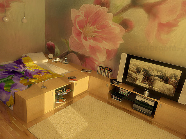 дизайн интерьера спальни. дизайн мансардных окон. дизайн интерьера и...