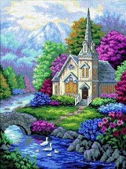 Расширенное описание для Набор для вышивки гобелена Церковь.