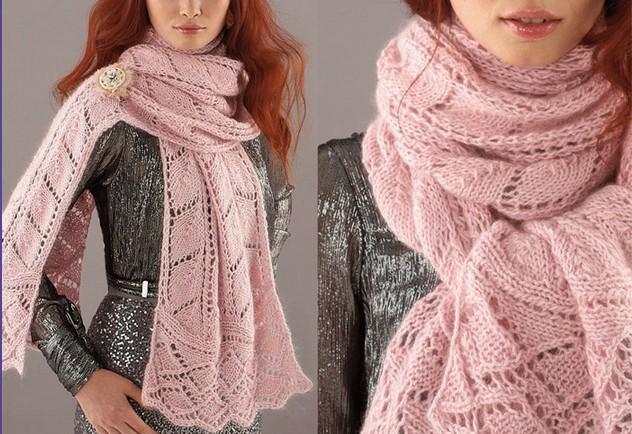 Длинный ажурный шарф
