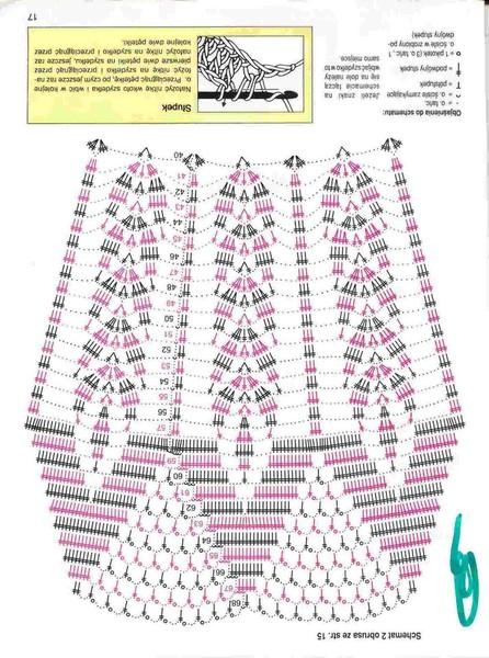 Схемы крючком клиньев для юбок