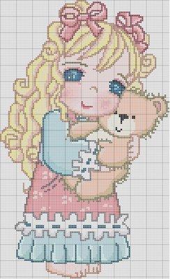 ponto cruz menina ursinho (244x400, 31Kb)