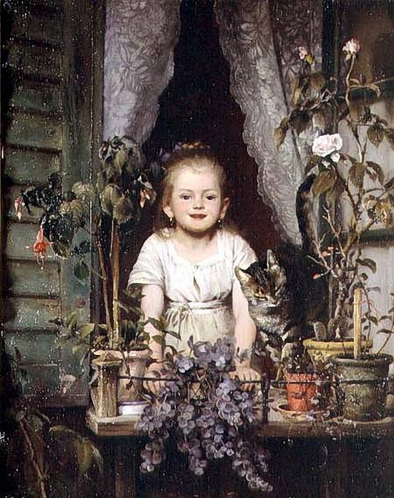 Wilhelm Schutze -A girl at a window (554x700, 354Kb)