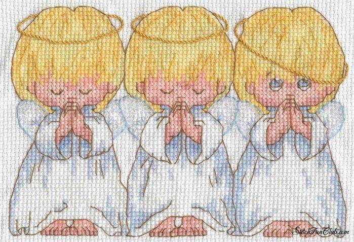 Вышивка крестиком ангелочки