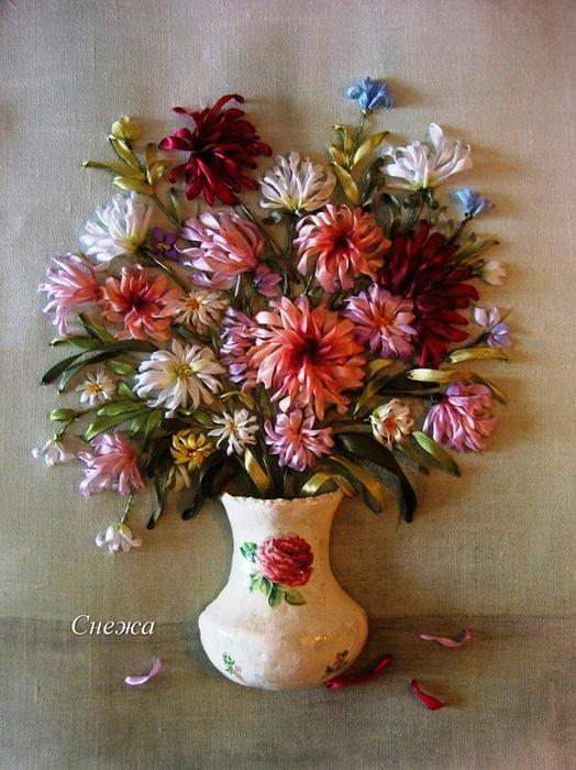 Схема вышивки лентами хризантемы