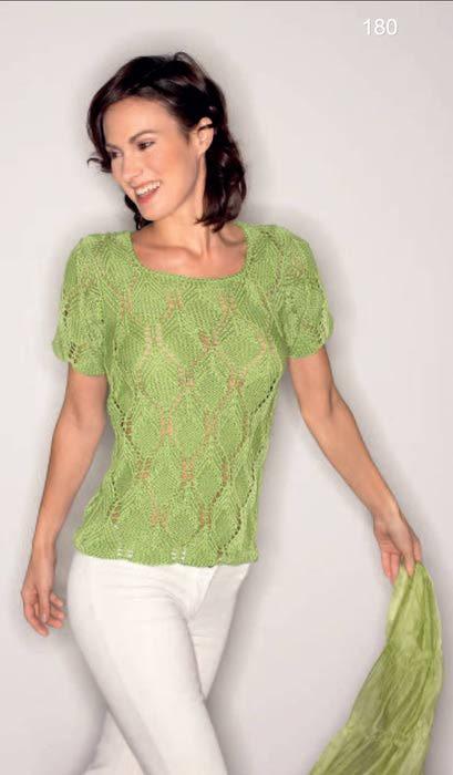 Зеленый Пуловер С Короткими Рукавами