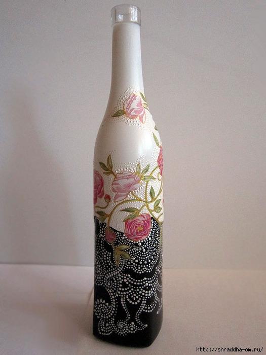 бутылка декоративная, декупаж, акрил, автор Shraddha, 1 (525x700, 189Kb)