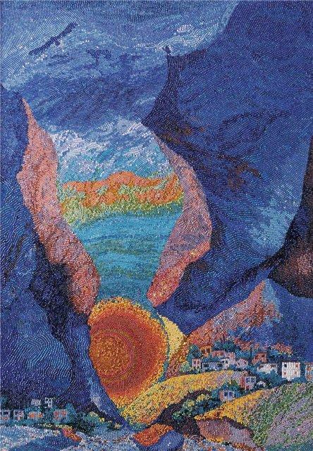 """Картина  """"Кавказ """" (1999г.) вызывает у зрителя эту устремленность: Пушкин  """"у края стремнины """" и тень орла..."""